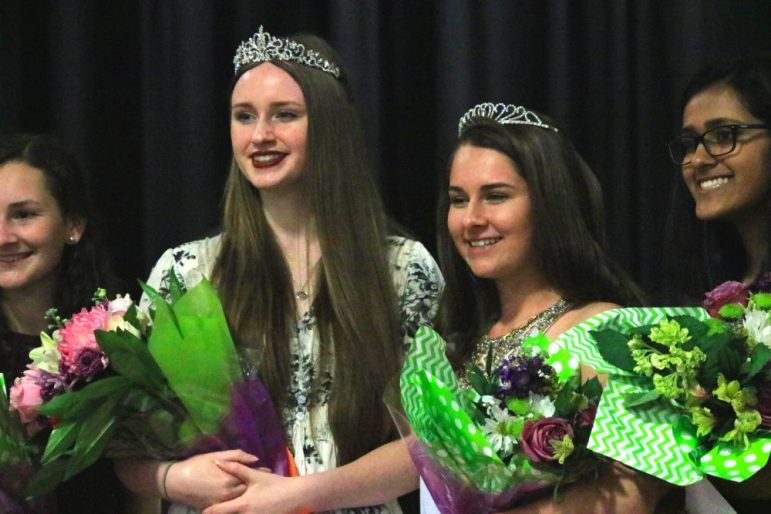 2018 Apple Blosssom Queen Emily Doolin poses with 2017 Apple Blossom Queen Olivia Overington. PHOTO BY ANTHONY CAMMALLERI