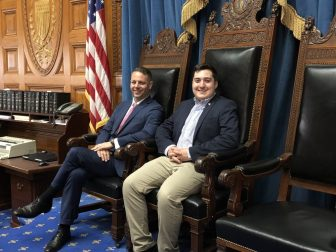 State Rep. James Arciero and Westford Academy Senior Capstone intern Andrew Friel in the chamber of the Massachusetts House of Representatives. COURTESY PHOTO