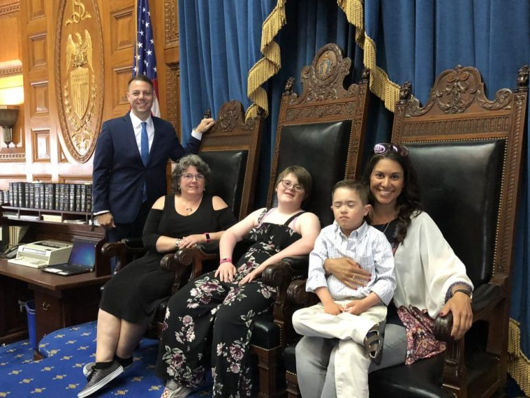 Pictured from left to right are: State Representative James Arciero, Kathy Norton, Meg Norton and Danielle Thompson with her son, Drew, on her lap.  COURTESY PHOTO