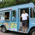 Ioannis Sarrou parked his ice cream truck at Edwards Beach recently, next to the Ronan McElligott Memorial Playground.  PHOTO BY JOYCE PELLINO CRANE