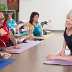 Chris Kandianis leads a class at Westford Pilate and Yoga. COURTESY PHOTO.