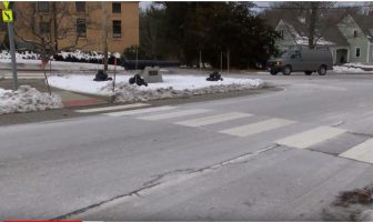 The crosswalks in the town center formerly consisted of broach white stripes for a ladder effect. This type of crosswalk is more visible for people with vision disabilities, said Kate Phaneuf, chairman of the Disability Commission. WESTFORDCAT FILE PHOTO