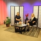 Democratic nominee for the Third Congressional District seat Lori Trahan (left) on the set of WestfordCAT's 'Main Street' with host Joyce Pellino Crane. PHOTO BY LAUREN HORTON