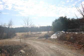 A dirt road at 130 Littleton Road leads to the 17-acre area where the 22,000 square-foot Grace Community Church will be built. PHOTO BY JOYCE PELLINO CRANE