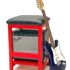 Guitar Playing Chair Green Lounge Rockin Stool We Ve Built In A Shelf For Amplifier To Fit Under The Seat Supplies And Model Numbers Vary But Will Mount Brand New Amp Prior