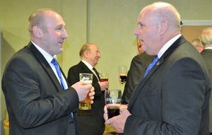 David Winder (right) spreading the gospel of fun to a relatively new Mason, Andy McClements.