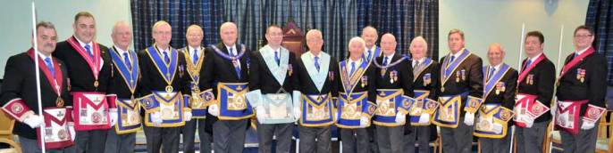 Steve McClintock and Doug Willoughby (centre) surrounded by an array of grand and acting Provincial grand officers.