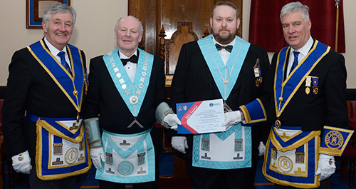 Pictured from left to right, are: Geoff Burry (Regional Charity Steward), Geoff Careless, Michael Cole and Simon Hanson.