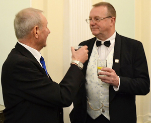 David Walmsley (left) toasts the new WM Ian Turner.