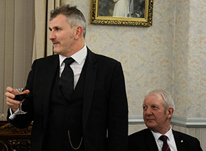 Craig, expressing his thanks, watched by Steve Plevey (right)