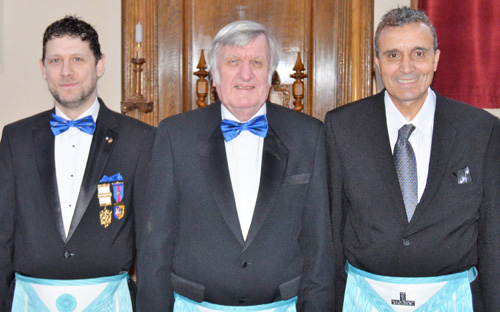 The brethren who presented the working tools, from left to right, are: Paul Seacy, David Morgan and Ben Benabda.