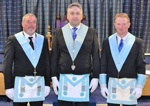 Pictured from left to right, are the 'light blue' brethren who presented the working tools: Alan McMonagle, Alun Jones and Chris Wilkinson.