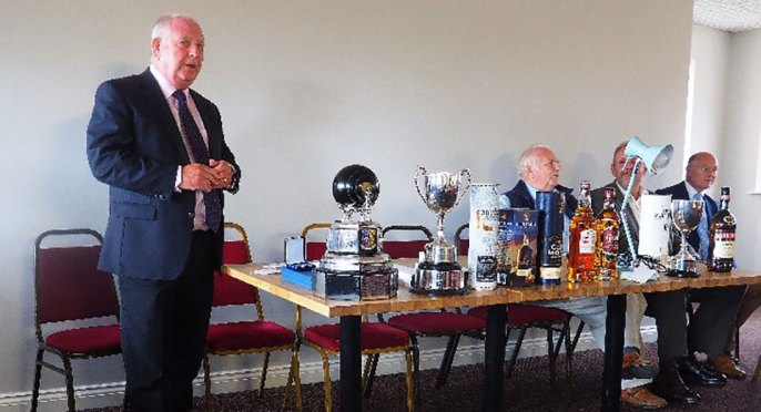 Harry Cox (standing) introducing the presentation ceremony and prizes.
