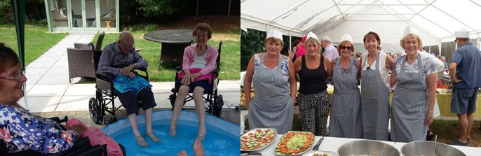 Picture left: Residents keeping cool during the heatwave. Picture right: Serving up the ever popular 'Meat Feast'.