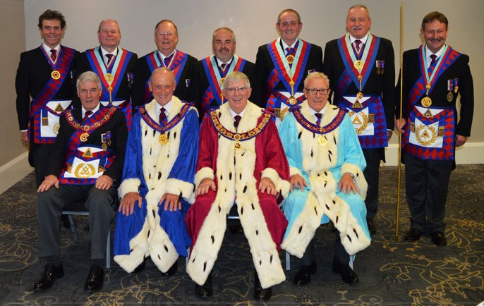 The Royal Arch Cabinet. Pictured from left to right sitting, are: Paul Renton, Barry Jameson, Tony Harrison and Ian Higham. Standing: Michael Threlfall, Duncan Smith, Colin Rowling, Chris Butterfield, Tony Hall, Sam Robinson and Paul Hesketh (PrGDC)