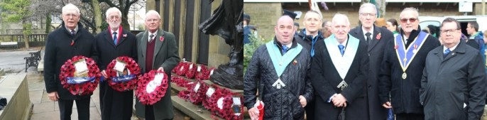 Honouring the fallen: Pictured left, are: Lancaster Freemasons. Pictured right, are: Carnforth Freemasons.