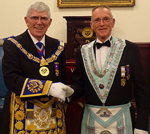 Congratulating David Weatherby of Victoria Lodge.