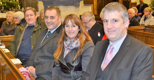 Pictured from left to right, are: Neil McGill, Scott Devine, Mrs Karan Devine and Chris Larder.
