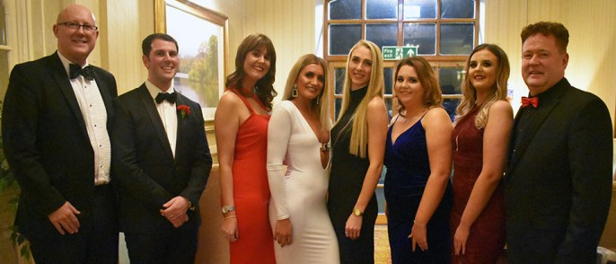 Pictured from left to right, are: Group vice chairman Gary Rogerson, steward Dan Greaves, raffle ticket sellers Hannah Clark, Clara Smalley, Rachel York, Fiona Walker and Zena Walker, with group chairman Peter Schofield.