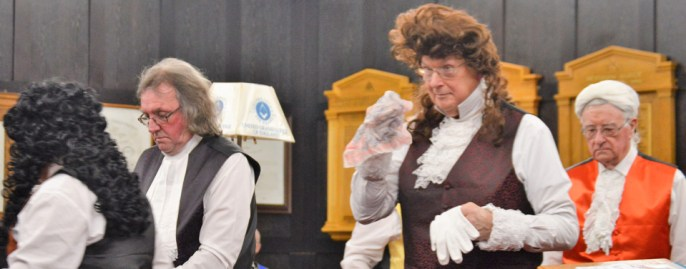 Members of the Timeline team dressed in period costume, whilst enacting their drama.