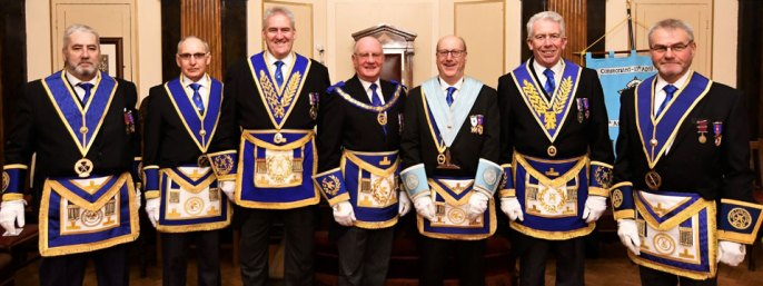 Pictured from left to right, are: George Christie, Reginald Wilkinson, Andrew Whittle, David Grainger, Graham Robinson. Mark Matthews and Barry Fletcher.