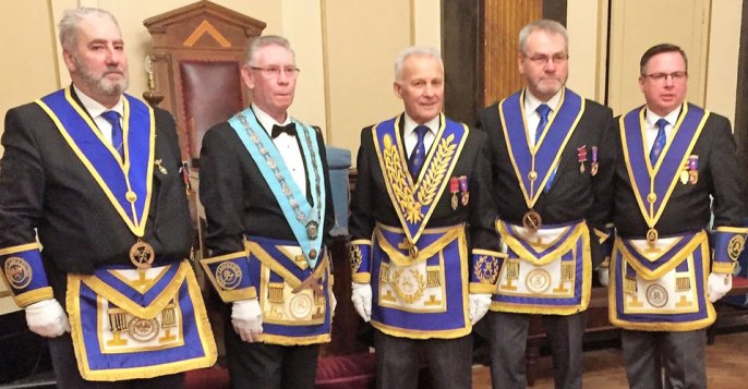 Pictured from left to right, are: George Christie, WM Peter McCarthy, Martin Lockyer, Barry Fletcher and Harry White.