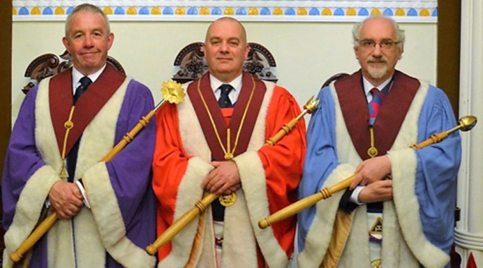 Pictured from left to right, are the installed principals, Geoff Green, Gordon McConnell and Geoffrey Cuthill.