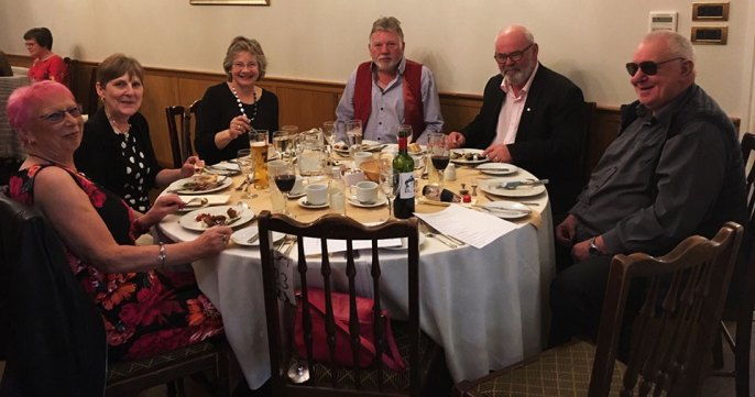 Pictured from left to right, are; Cath Read, Julie Miller, Lynda Mason, Stuart Mason, Ralph Miller and Dennis Read.