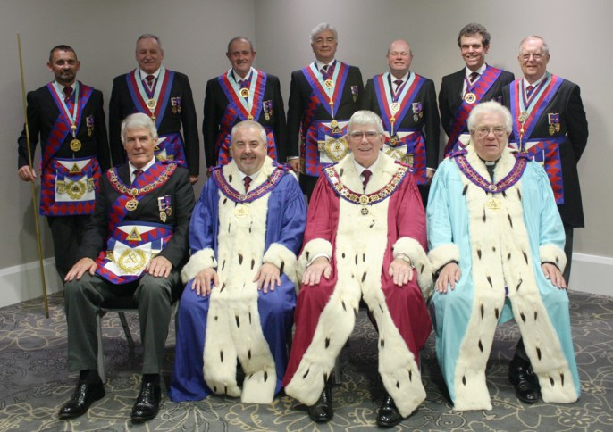 Senior officers of the Royal Arch. Pictured from left to right front row, are: Paul Renton, Chris Butterfield, Tony Harrison and Godfrey Hirst. Back row: David Thomas, Samuel Robinson, Tony Hall, Barrie Crossley, Duncan Smith, Mike Threlfall and Colin Rowling.