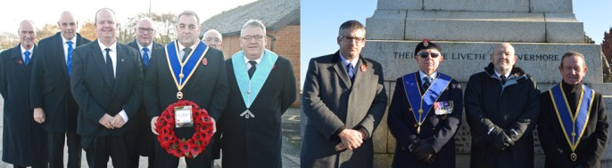 Pictured from left to right: Scott Devine laying a wreath on behalf of Garstang Masons; Chris Larder, Tom Finney, Terry Nealons and Torquil MacLeod at the Morecambe Cenotaph.