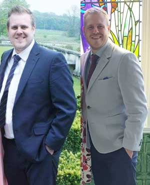 Adam is pictured on the left before loosing three stone and it really is him now on the right!