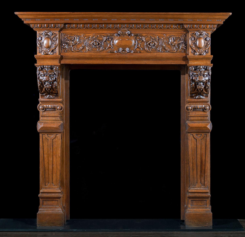 Baroque Antique Wood Fireplace Mantel  Westland Antiques