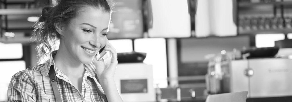 Insurance premium funding - female on phone
