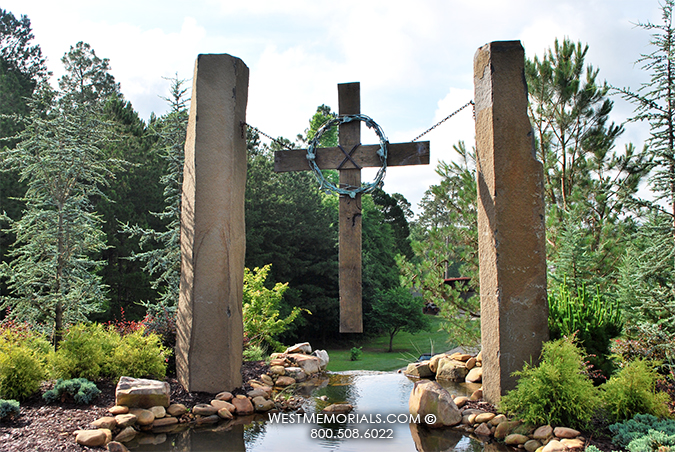 Galardi Cross Carved Bronze Contemporary Monument In Granite