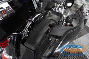 The subwoofer enclosures are rotomolded to fit perfectly into the saddlebags.