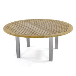Stainless Steel Outdoor Table And Chairs Drop Leaf Vogue 6ft Diameter Round Teak