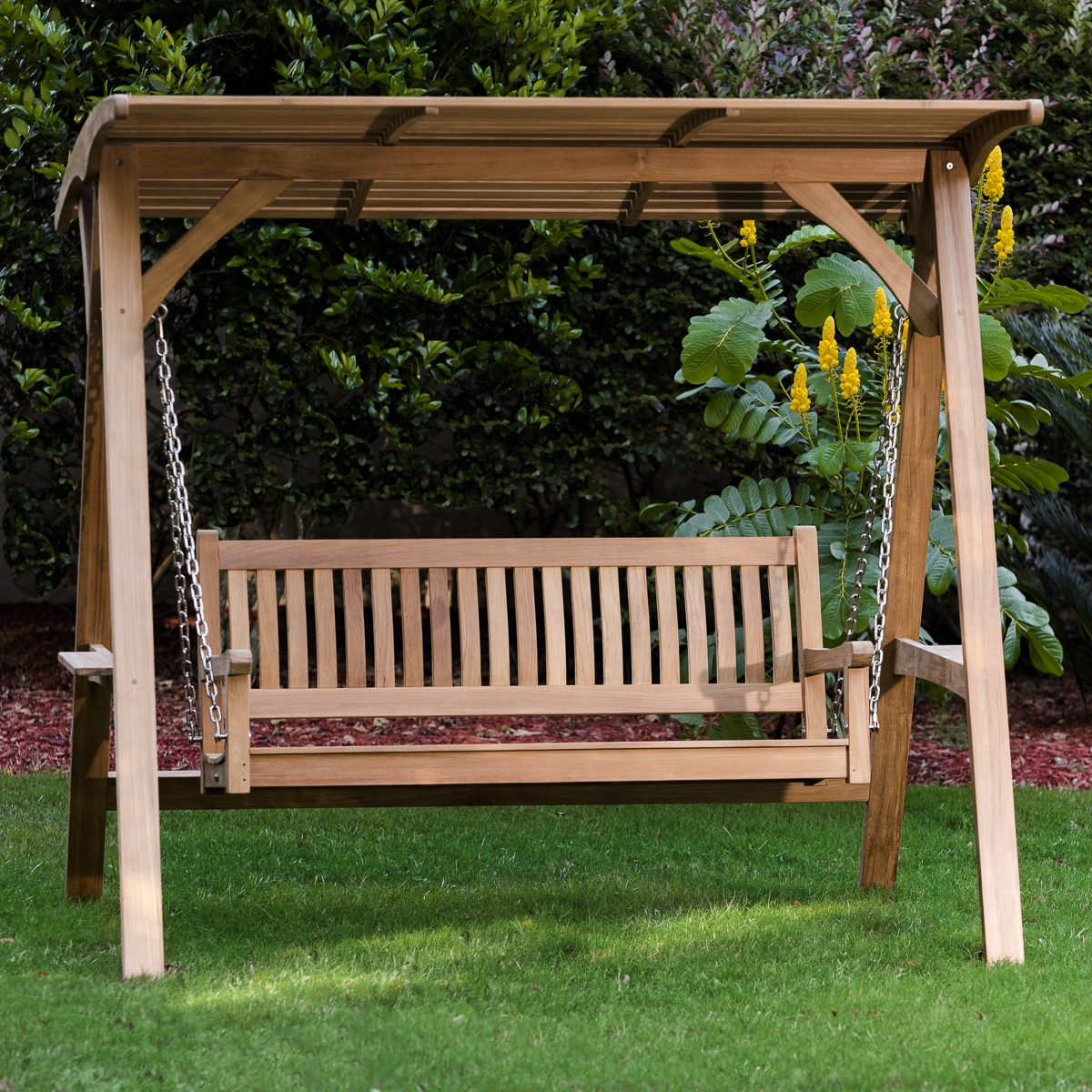 Teak Veranda Porch Swinging Bench With Canopy