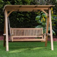 Teak Veranda Porch Swinging Bench with Canopy ...