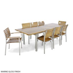 Stainless Steel Outdoor Table And Chairs Wheelchair Hitch 11 Pc Vogue Dining Set Westminster Teak