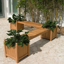 Teak Planter Bench Set - Westminster Outdoor Furniture