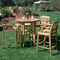 Teak Bar Table And Chairs Unfinished Wooden Canada Laguna Outdoor Stool Set