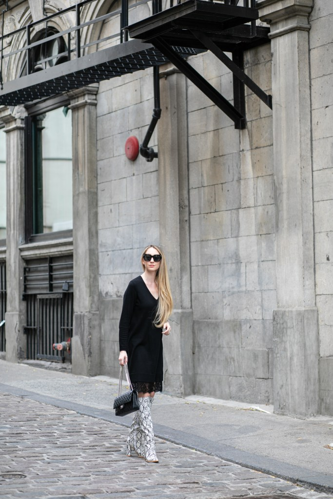 Jessica of westmountfashionista in Snake Print Boots
