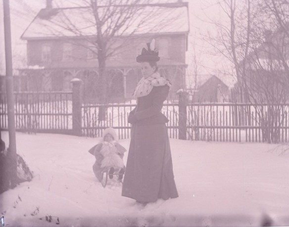 Mrs. Tyrrell & Mary in sled. January 16, 1899 from the Thomas Fisher Rare Book Library