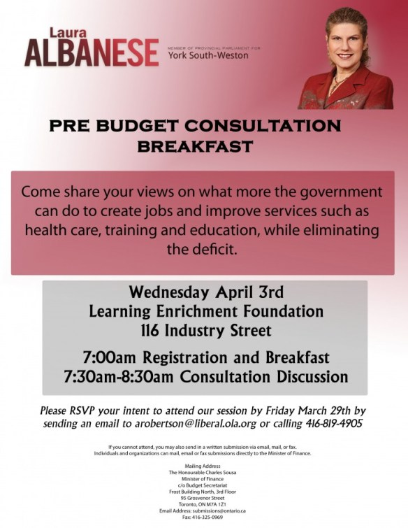 MPP Albanese Pre Budget Consultation April 3 2013