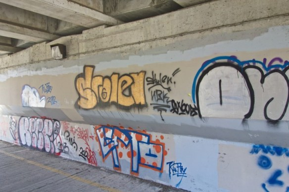 Graffitti by the talentless under the Lawrence Avenue bridge.