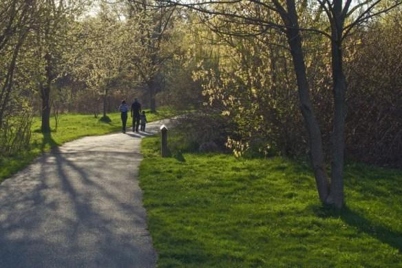A family walks through Lions Park.