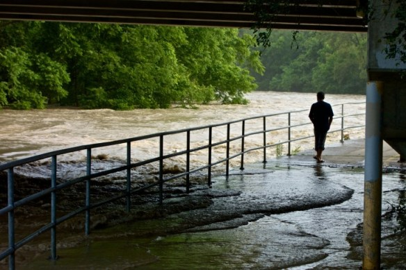 A man walks through floodwater under the Lawrence Avenue Bridge.