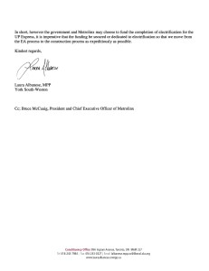 Microsoft Word - Letter to Minister Murray - UP Express November 19th