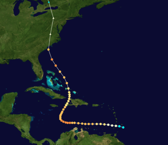The track of Hurricane Hazel
