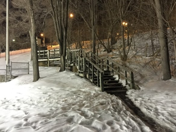 A nighttime view of the steps taken last February.